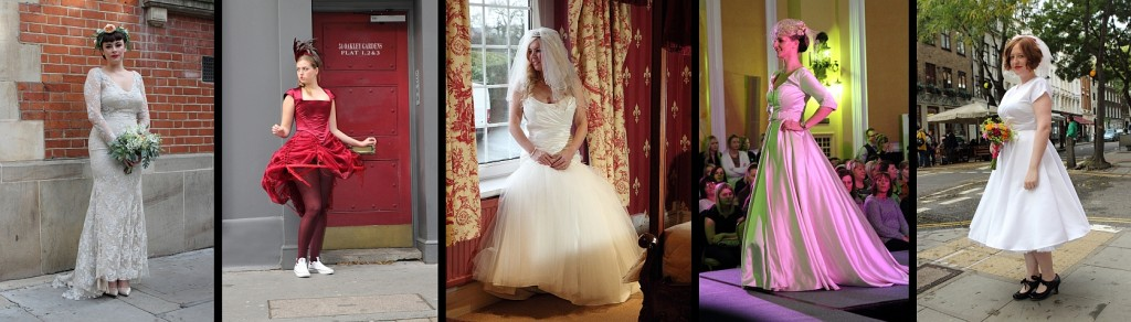 montage of beautiful wedding dresses