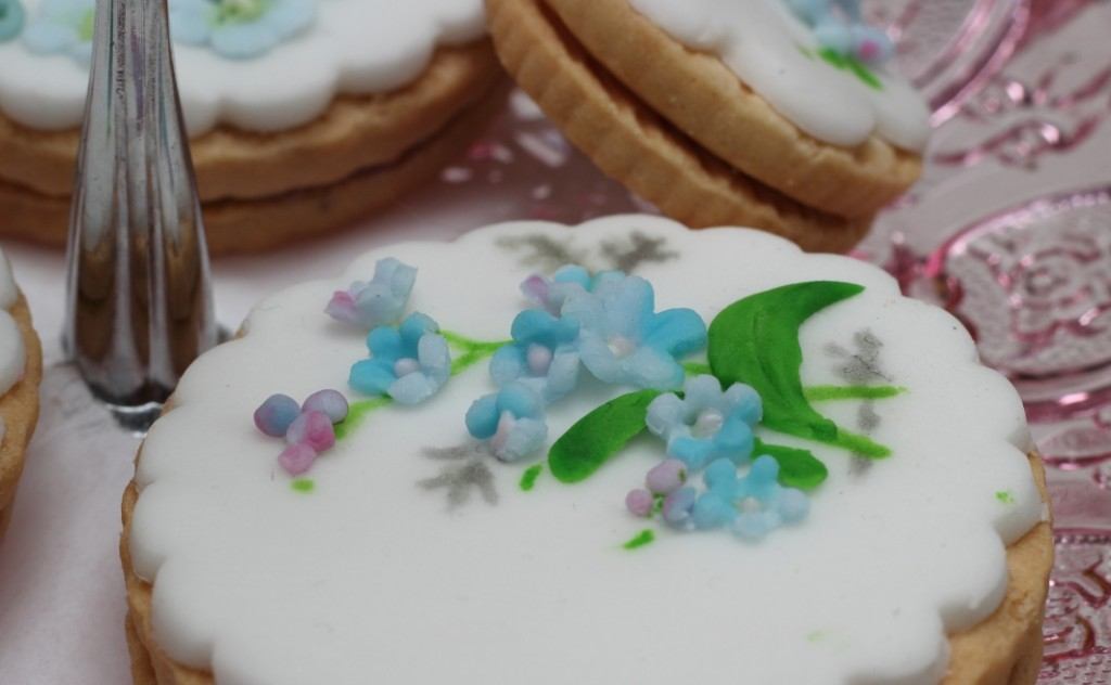 Blue floral pattern iced biscuit