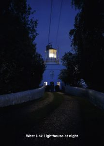 West Usk Lighthouse at night